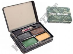 Camouflage Face Paint 4 Colours in Metal Case Military Army Black Green Brown Beige
